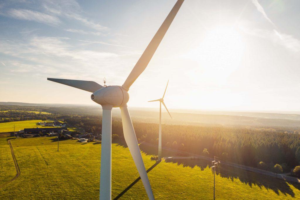 wind mills at sunset